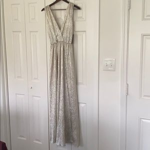 Silvery Gold Lulus Maxi Dress